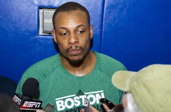 Paul Pierce addresses the media at Columbia University