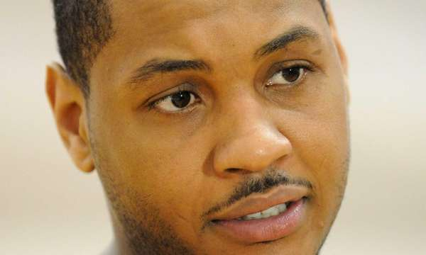 Carmelo Anthony speaks to media during a team