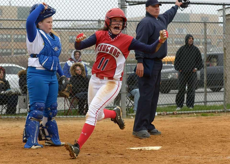 St. John's Emily Quatrale reacts after scoring the