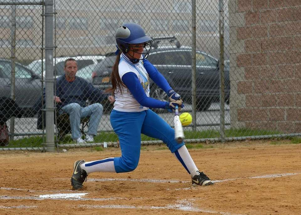 Kellenberg's Amy Quinn connects for a single against