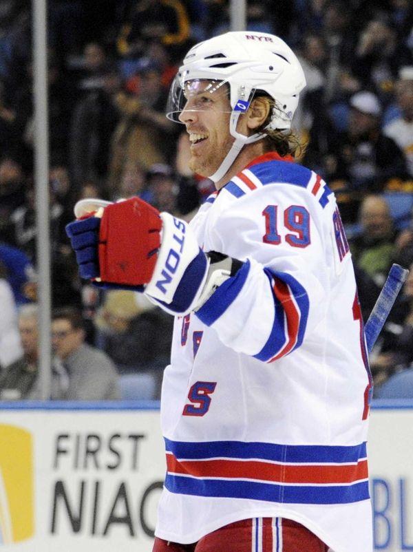 Rangers center Brad Richards celebrates his second of