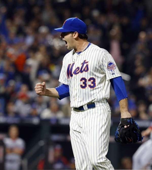 Matt Harvey of the Mets reacts to the