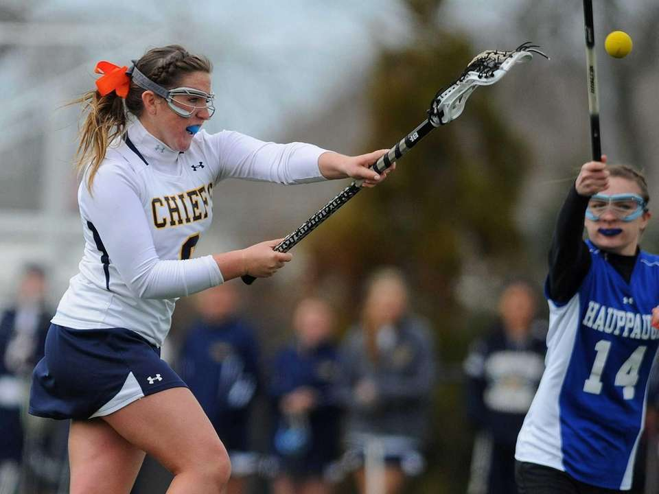 Massapequa's Hayley Burke finds the back of the