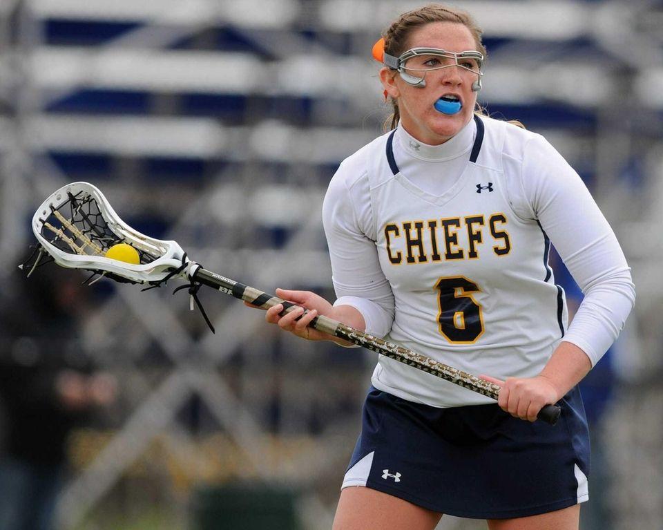 Massapequa's Hayley Burke looks to make a pass