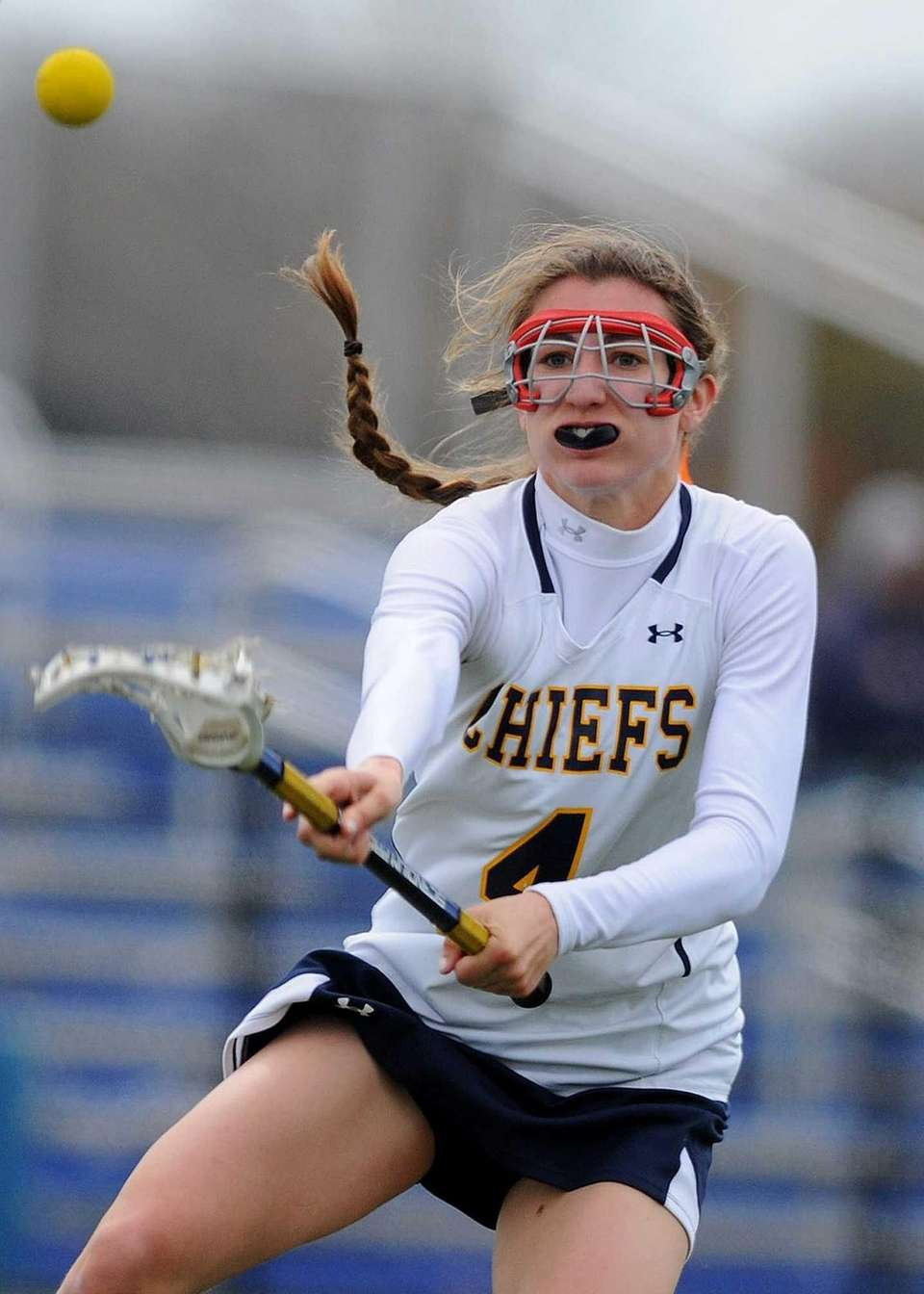 Massapequa's Kristin Yevoli follows through on a shot