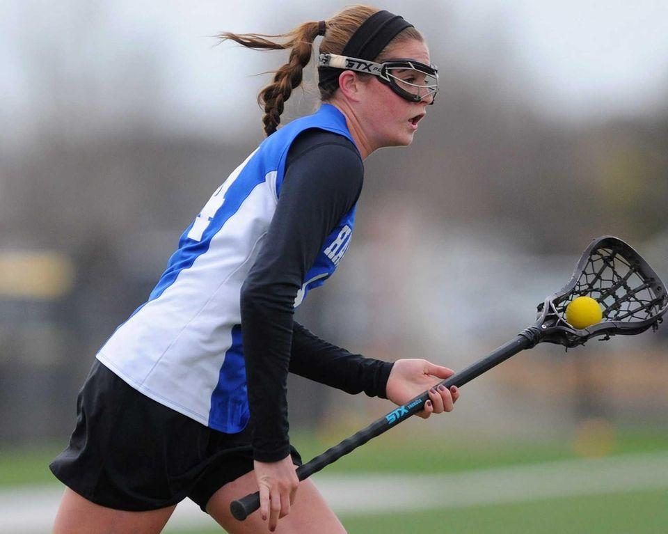 Hauppauge's Keri McCarthy races toward the net during
