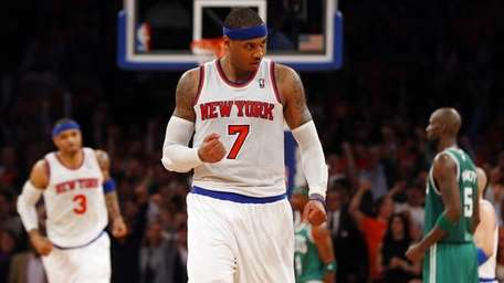 Carmelo Anthony of the Knicks pumps his fist