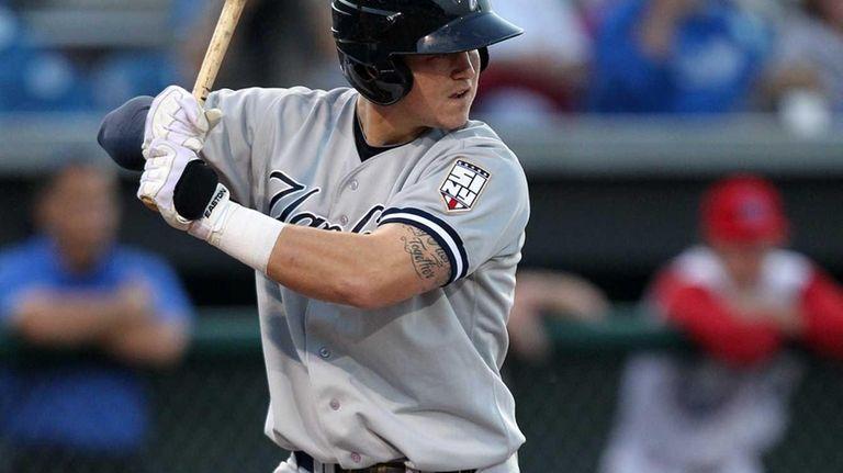 Staten Island Yankees third baseman Tyler Austin bats