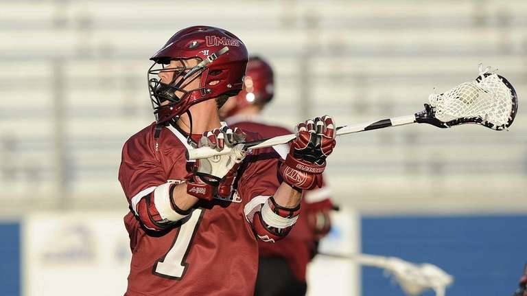 UMass attacker Will Manny warms up before the