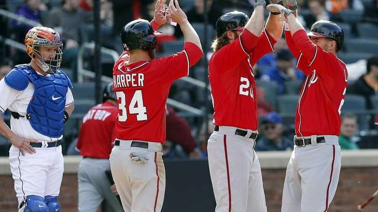 Washington Nationals center fielder Bryce Harper and right