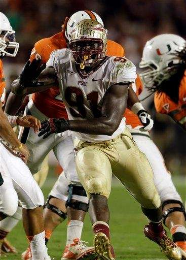 Florida State defensive end Cornellius Carradine is shown