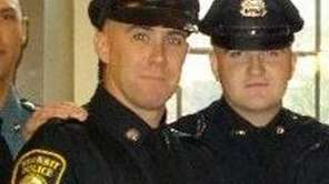 Richard Donohue Jr., left, and Sean Collier pose