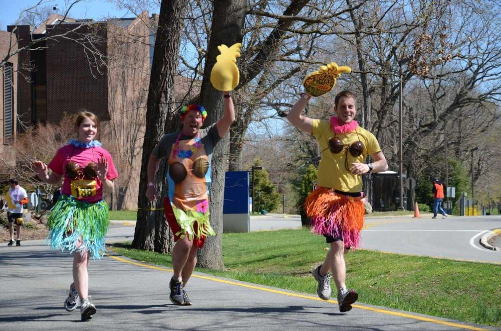 Many runners, including the men, sported grass skirts,