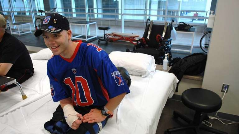 Cpl. Christopher Levi, of Holbrook, at Walter Reed