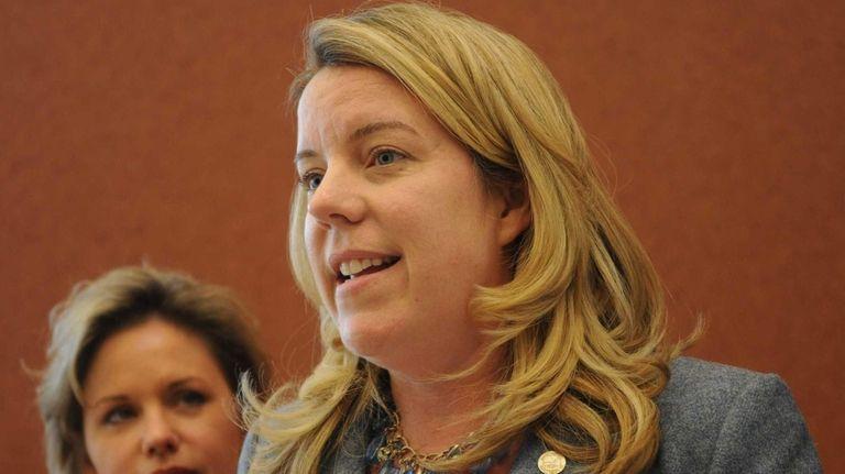 Suffolk County Legislature Kara Hahn addresses the media