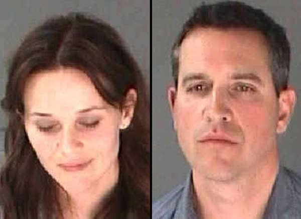Mug shots of Reese Witherspoon and her husband,