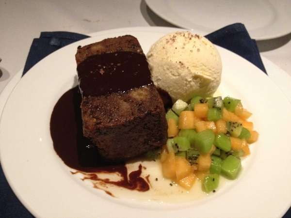 """Meatloaf, mashed potatoes, peas and carrots"" bread-pudding dessert"