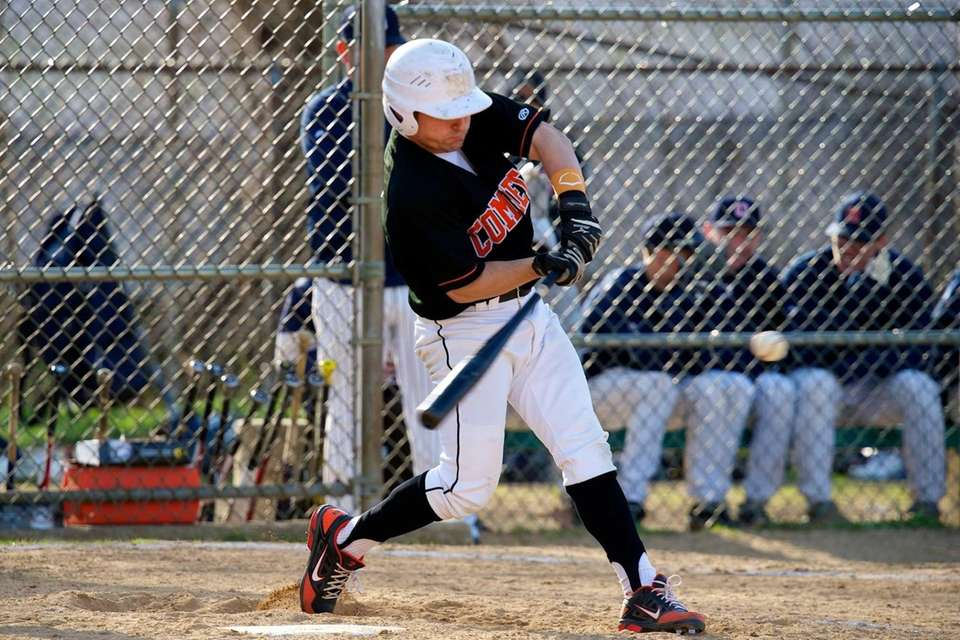 Hicksville pitcher Anthony Salomone (2) swings at a
