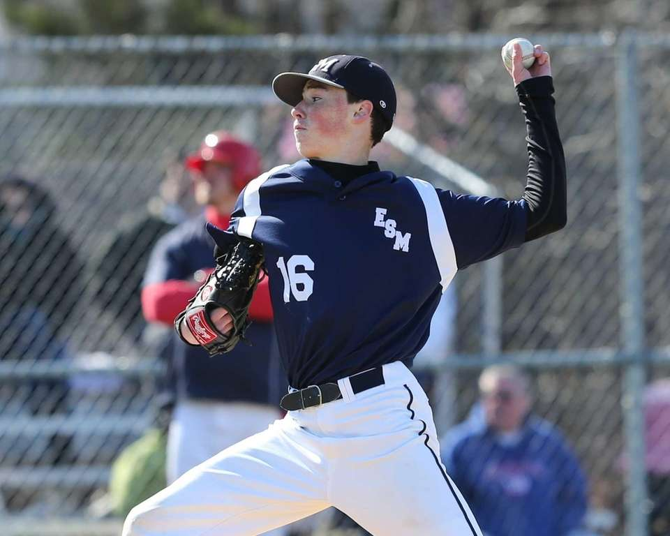 Eastport South Manor's Steven Arnsten delivers a pitch