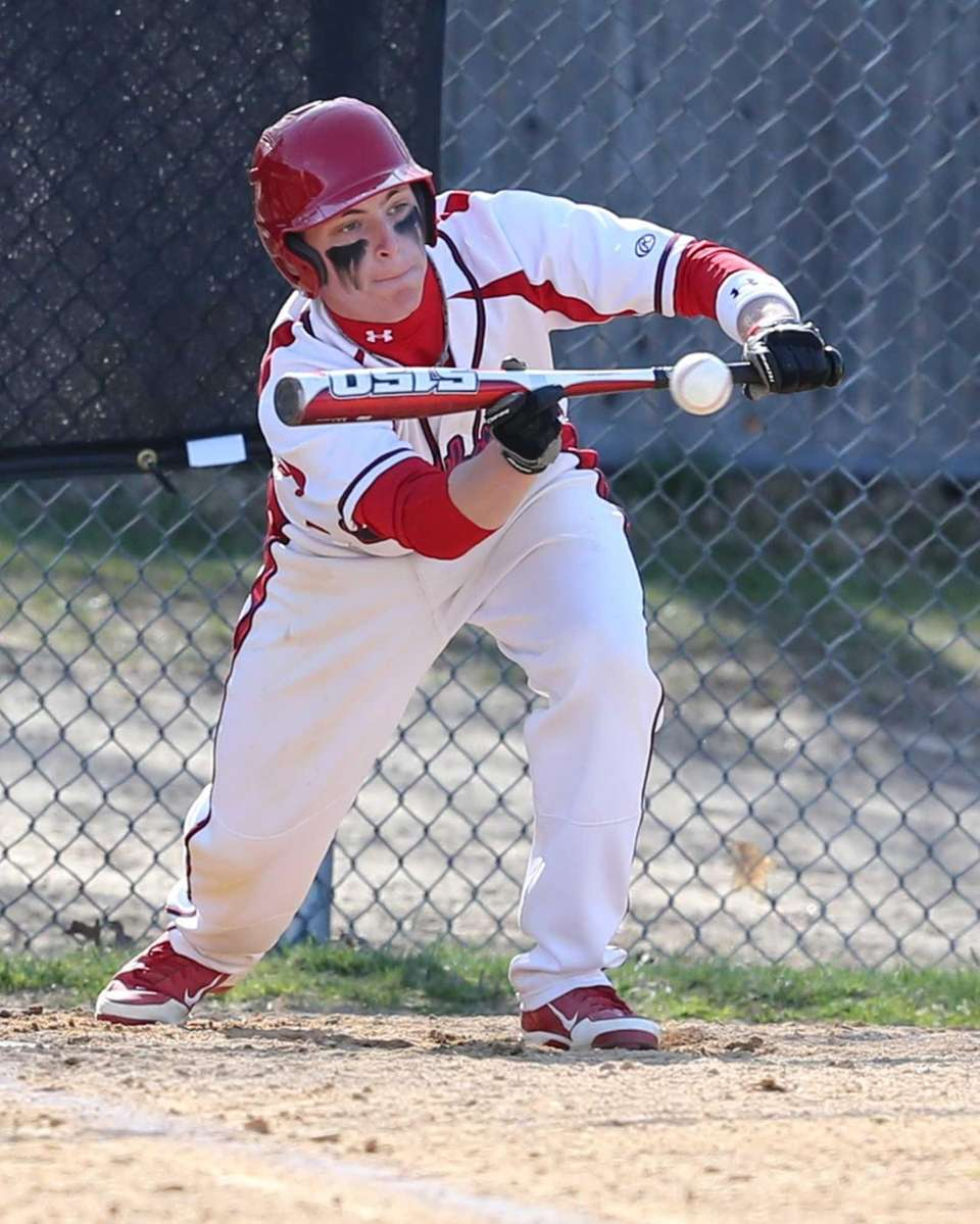 Miller Place's Kevin Cergol lays down a bunt