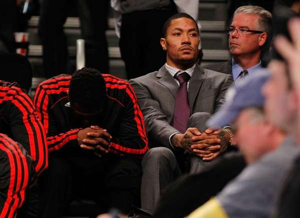 Derrick Rose #1 of the Chicago Bulls looks