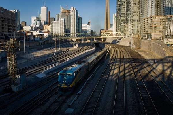 A VIA Rail train leaves Union Station in