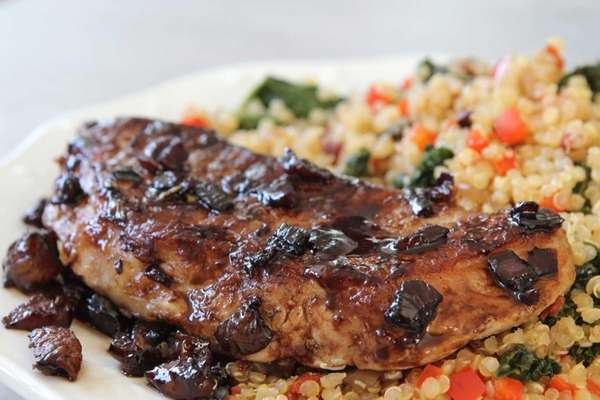 Boneless pork chops glazed in a balsamic-apricot sauce.