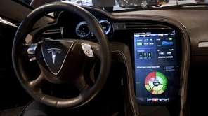 A large touchscreen in Tesla Motors Inc.'s Model