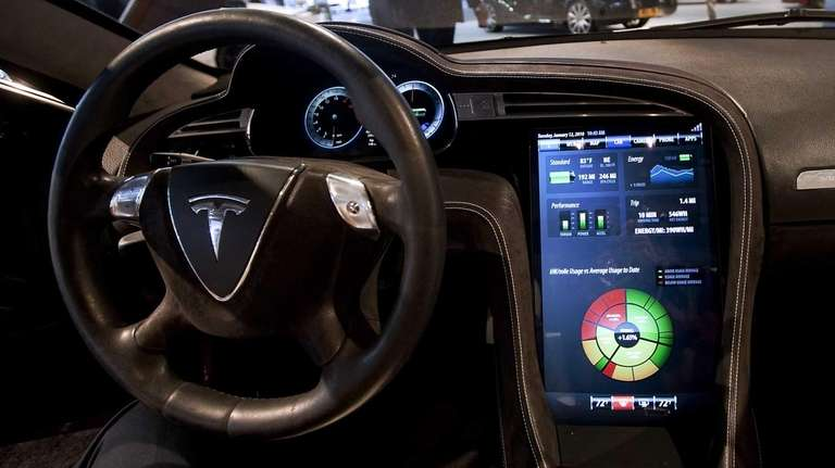 A large touchscreen in Tesla Motors Inc.'s Model
