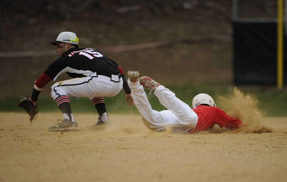 Smithtown East's Nick Auricchio steals second base as