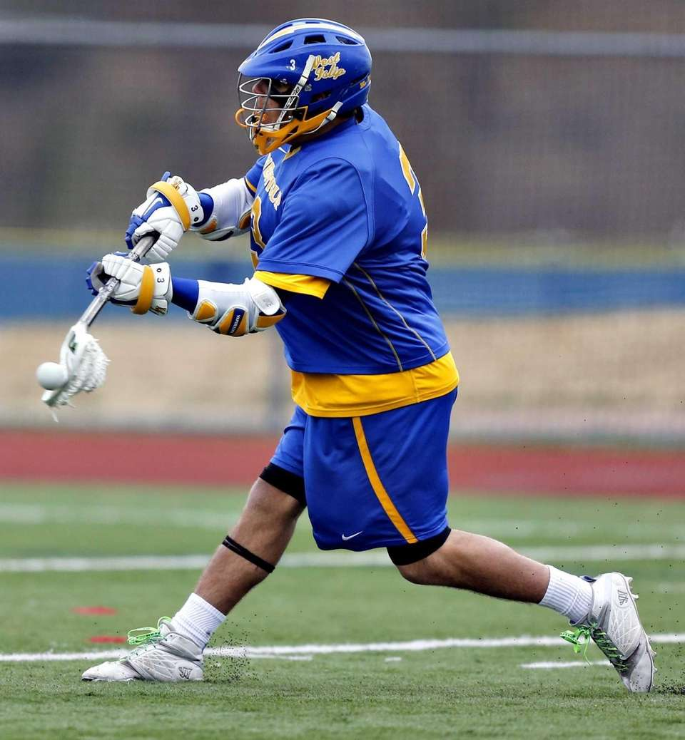 West Islip's Ryan Wieczorek shoots on goal in