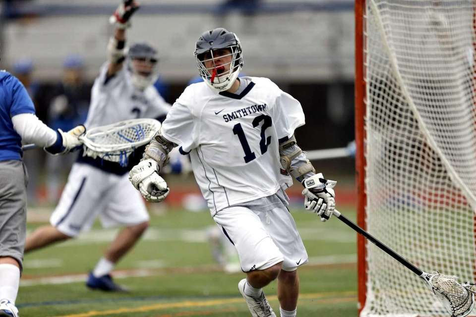Smithtown West's Sean Adler celebrates his rebound goal