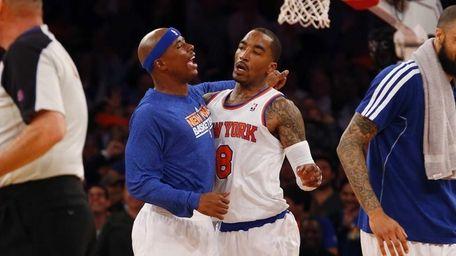 J.R. Smith of the Knicks celebrates his buzzer-beating