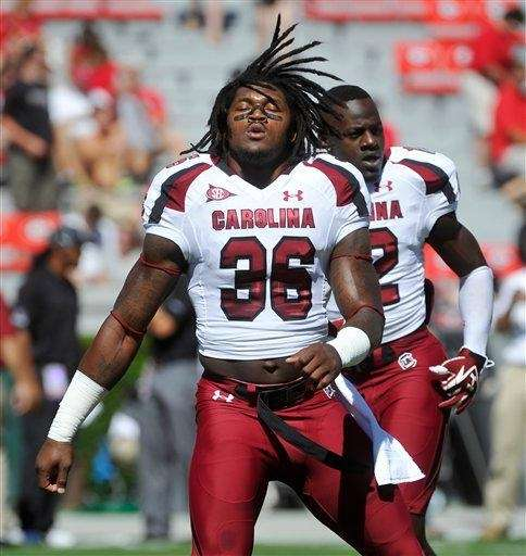 South Carolina safety D.J. Swearinger warms up before