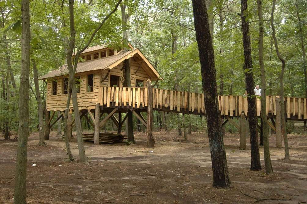 This donated treehouse, complete with wheelchair ramp, was