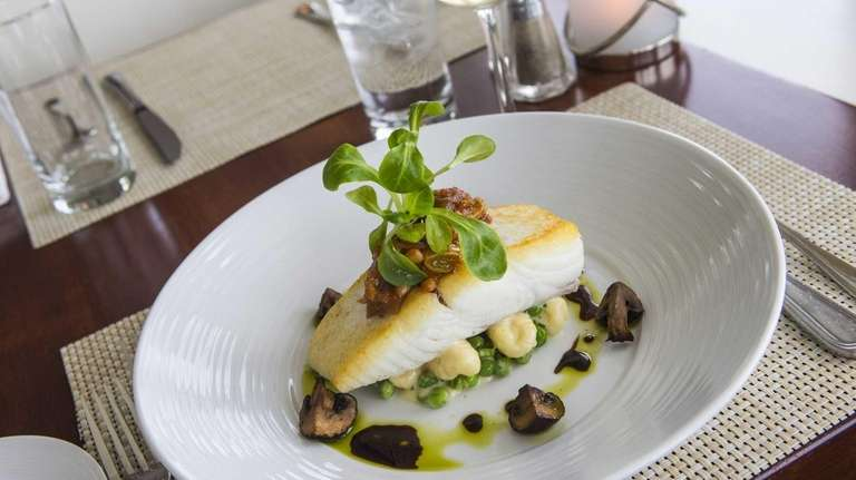 Roasted, wild-caught striped bass is served at View