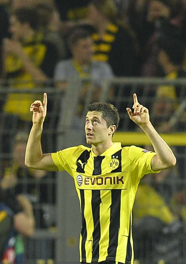 Dortmund's Robert Lewandowski celebrates after scoring during the