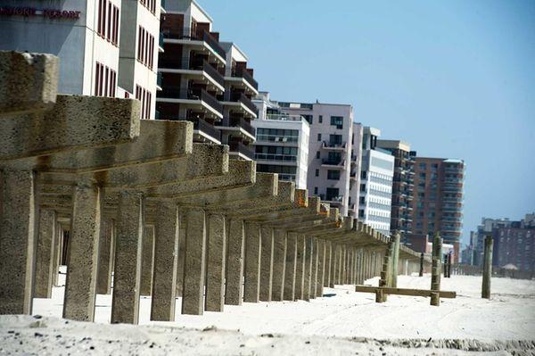 The Long Beach boardwalk is still being rebuilt