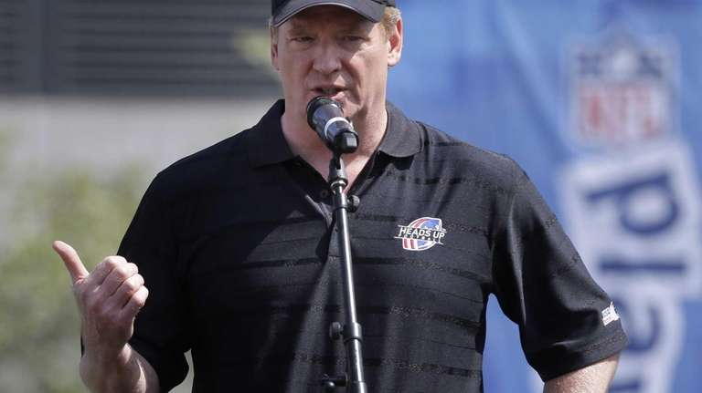 NFL commissioner Roger Goodell speaks during a youth