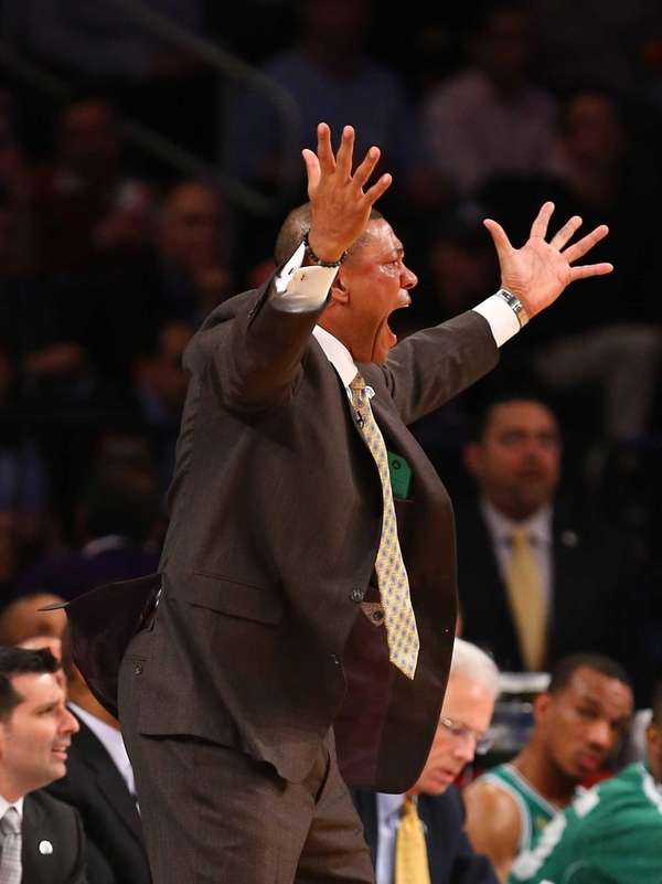 Doc Rivers of the Boston Celtics argues a