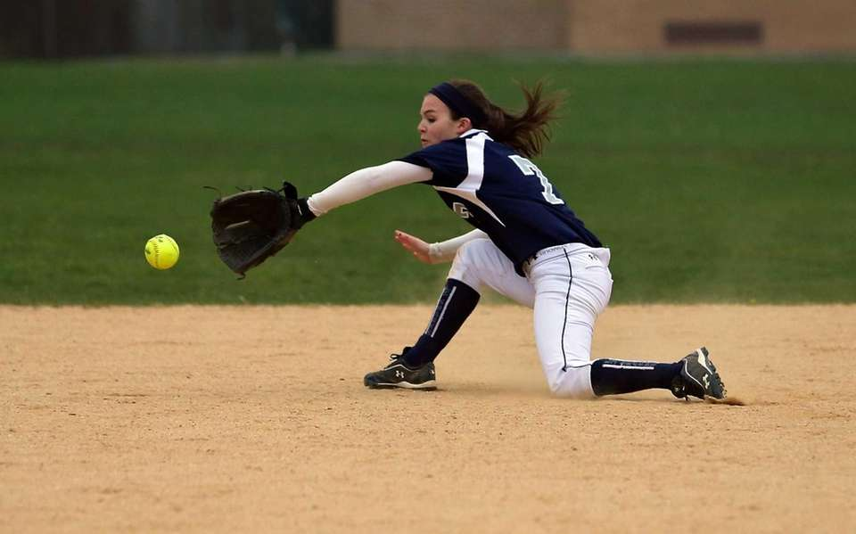 Eastport's Dana Taglioni makes the backhanded grab on