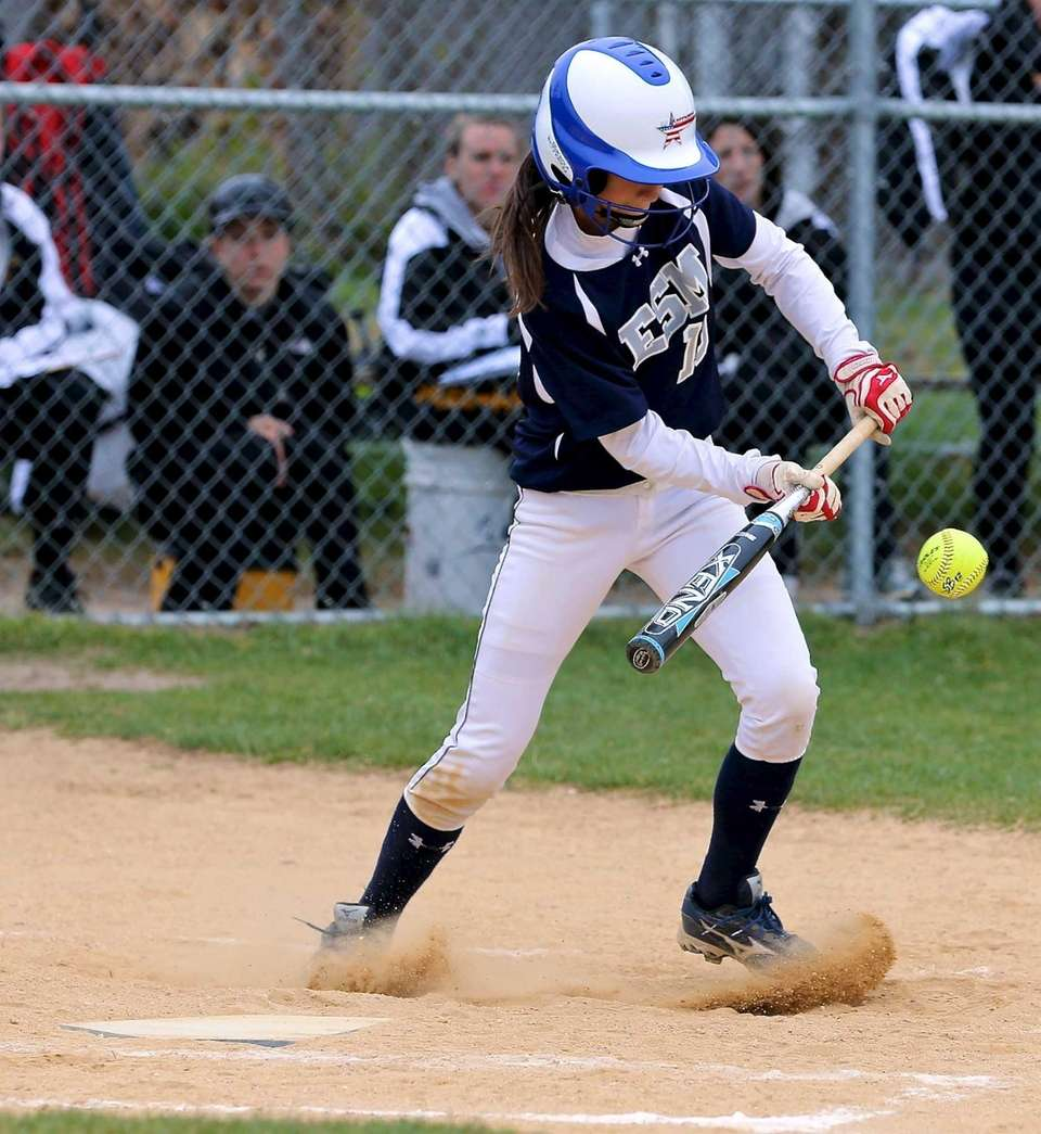Eastport's Kailah Konkel lays down a bunt for