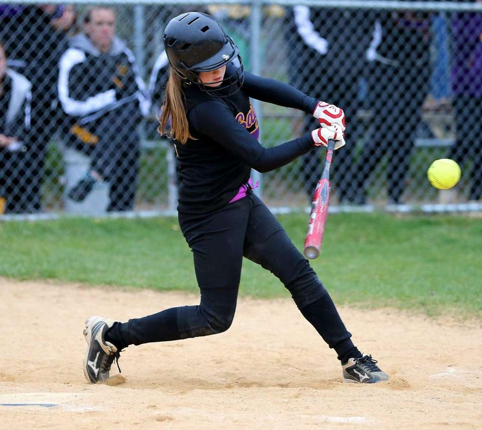 Sayville's Lyndsey Shaw connects on an Eastport pitch.