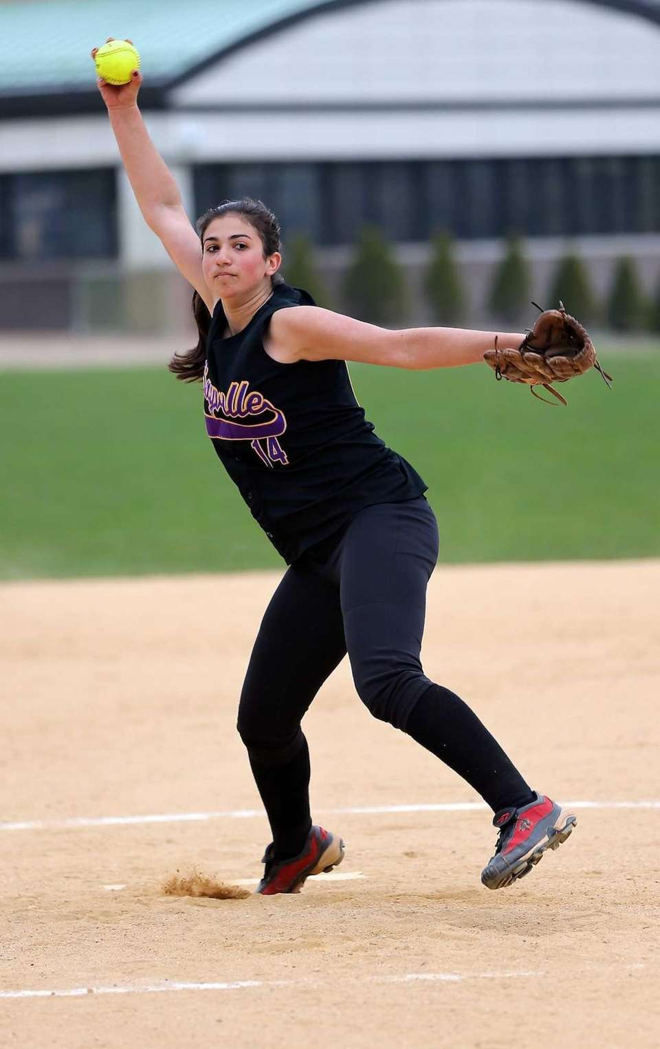 Sayville starting pitcher Amanda Eremita delivers a pitch