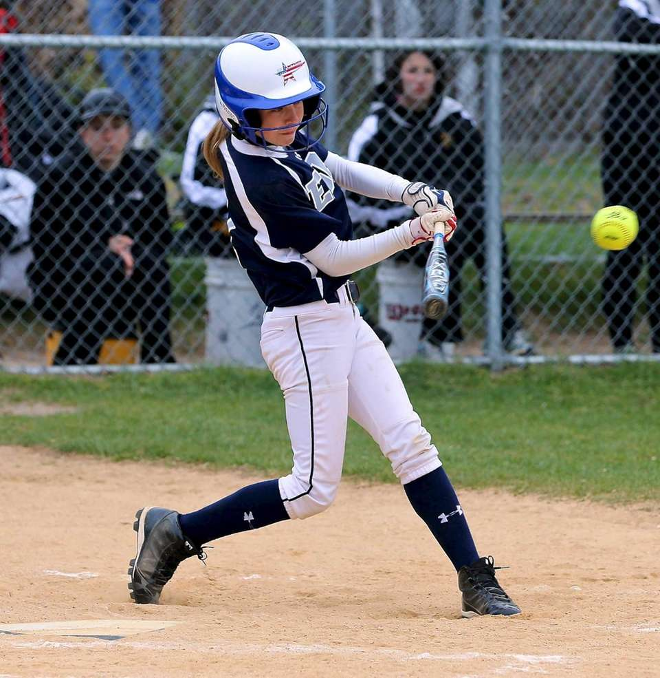 Eastport's Christina Rizzi connects for a hit against
