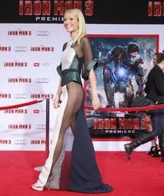 Actress Gwyneth Paltrow wears a sheer dress at