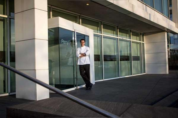 Chef Cedric Vongerichten, Jean-Georges' son, in front of