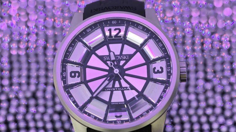 A Crystallium wristwatch made by Swarovski is seen