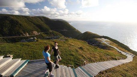 Visitors hike the Skyline Trail in Cape Breton