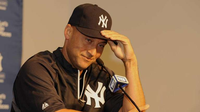 Derek Jeter speaks at a press conference before
